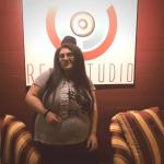 Teen girl at recording studio