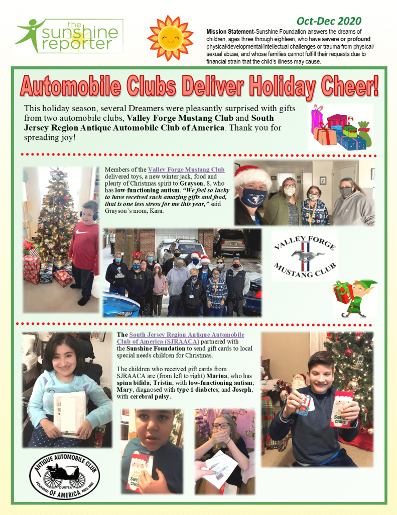 Children receiving gifts from Sunshine Supporters
